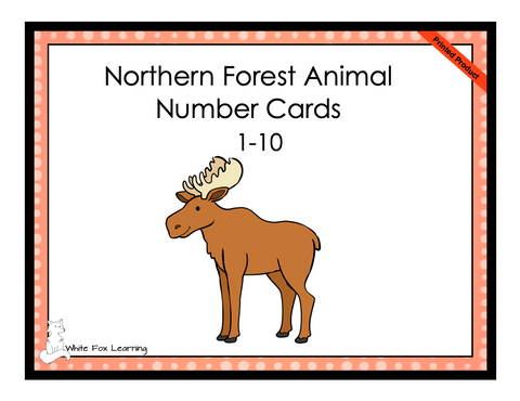 Northern Forest Animal Number Cards - 1-10 - Printed Product