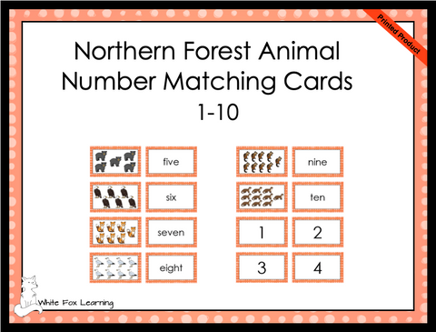 Northern Forest Animals Number Matching Cards - 1-10 - Printed Product