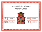 School Picture-Word Match Cards - Digital Product