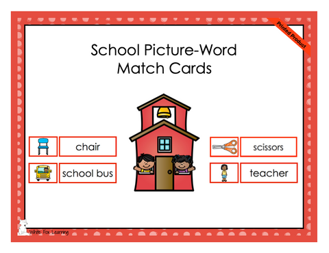 School Picture-Word Match Cards - Printed Product