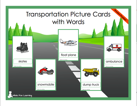 Transportation Picture Cards - Printed Product