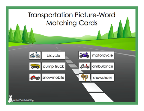 Transportation Picture-Word Matching Cards - Digital Product
