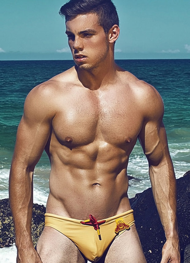 2EROS - V10.26 Beach Club Swim Brief - Gold Johnny Beach