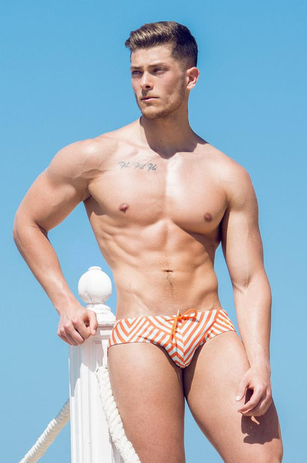 2eros V10 Print Swimwear Briefs Avant Orange Johnny Beach