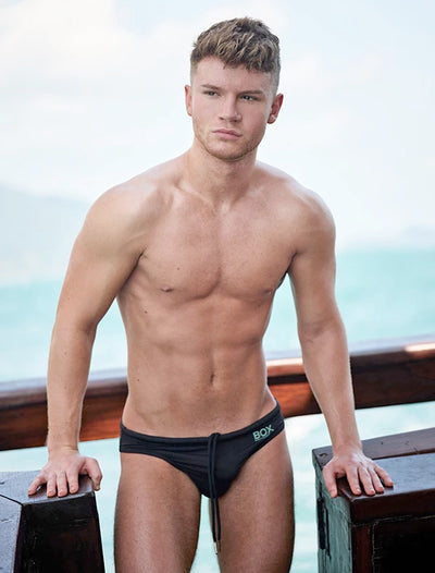 BOX Menswear Swimming Trunks Black-Swimwear-Johnny Beach