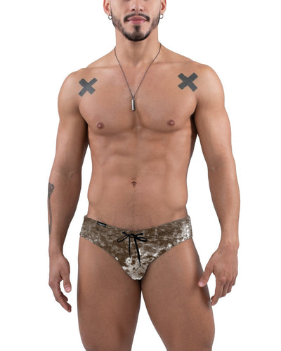 Jimaye Smokey Quartz Crushed Velvet Swim Brief