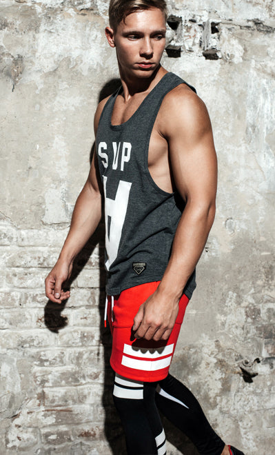 Supawear - Crimson Singlet - Black Marle Johnny Beach