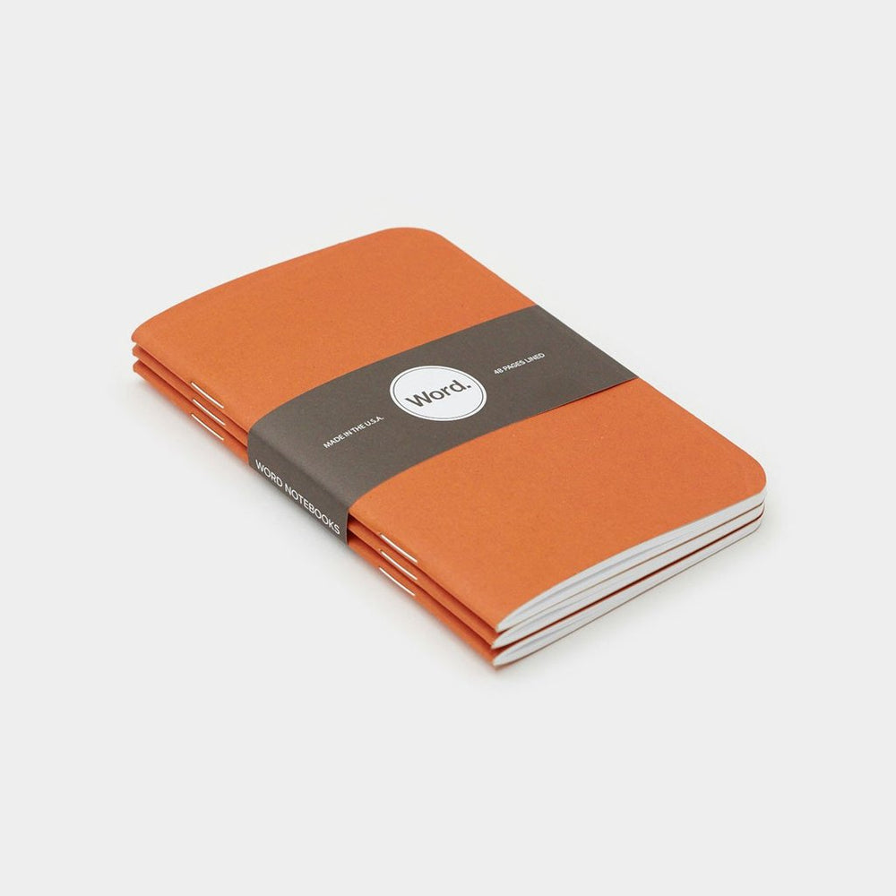 Word. Notebooks - Orange, notebook, Word. - Johnny Beach