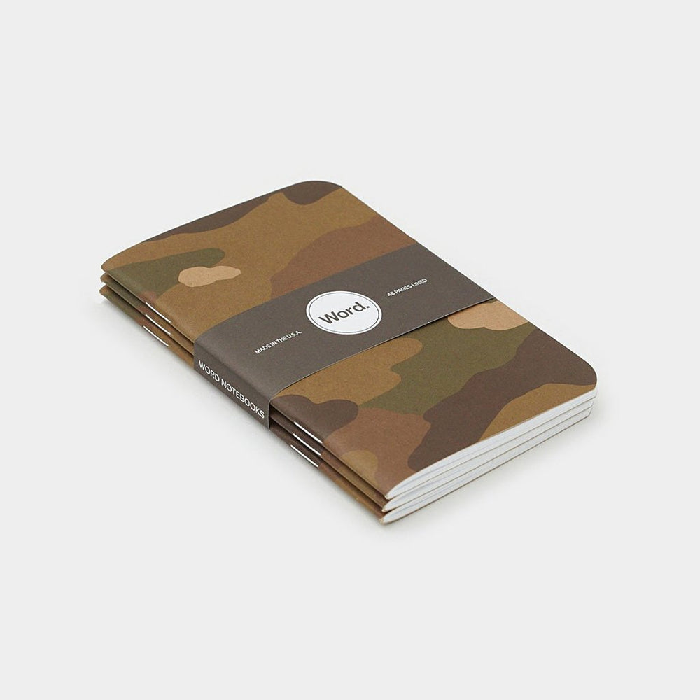 Word. Notebooks - Traditional Camo, notebook, Word. - Johnny Beach