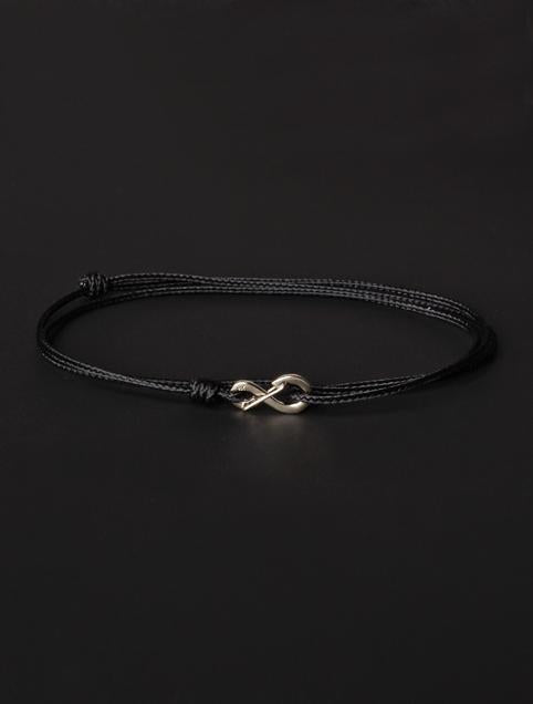 We Are All Smith Infinity Bracelet - Black Cord with Silver Clasp-Jewelry-Johnny Beach