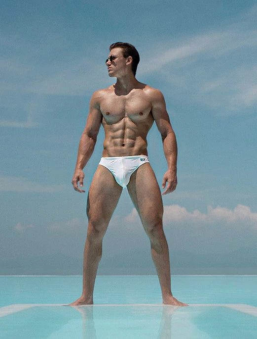 BOX Menswear Swimming Trunks White Johnny Beach