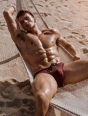 BOX Menswear Swimming Trunks Burgundy Johnny Beach