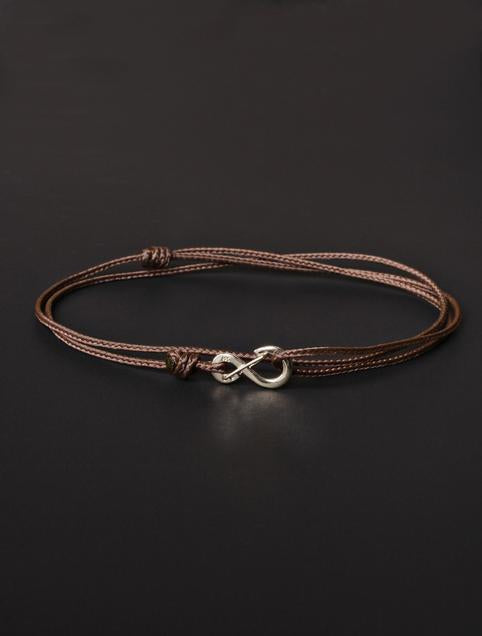 We Are All Smith Infinity Bracelet - Brown Cord with Silver Clasp-Jewelry-Johnny Beach