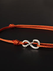 We Are All Smith Infinity Bracelet - Burnt Orange Cord with Silver Clasp-Jewelry-Johnny Beach