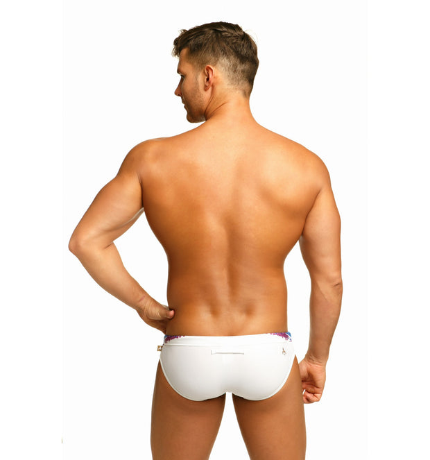 Marcuse - Celebrate Swim Brief - White Johnny Beach