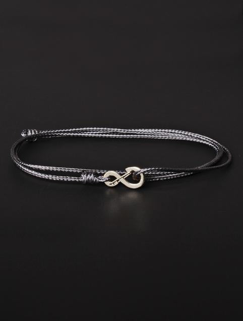 We Are All Smith Infinity Bracelet - Gray Cord with Silver Clasp-Jewelry-Johnny Beach