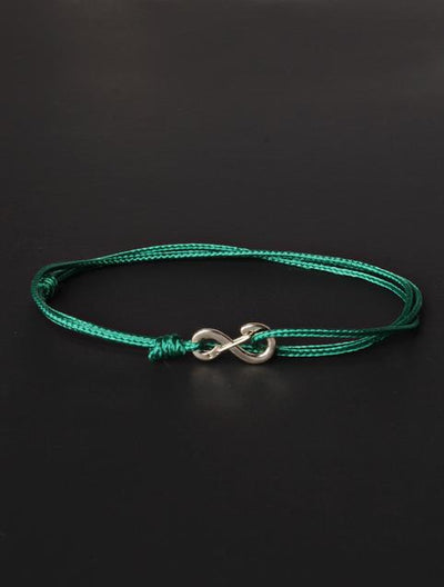 We Are All Smith Infinity Bracelet - Green Cord with Silver Clasp-Jewelry-Johnny Beach