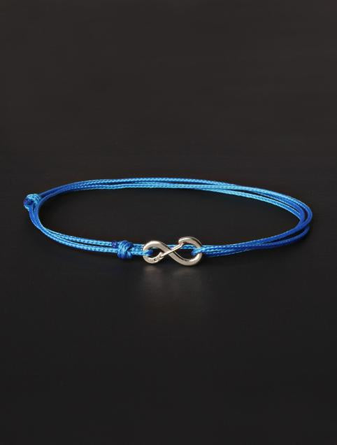 We Are All Smith Infinity Bracelet - Light Blue Cord with Silver Clasp-Jewelry-Johnny Beach
