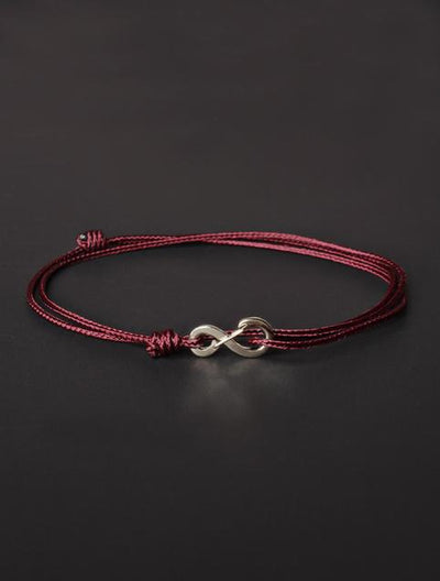We Are All Smith Infinity Bracelet - Maroon Cord with Silver Clasp-Jewelry-Johnny Beach