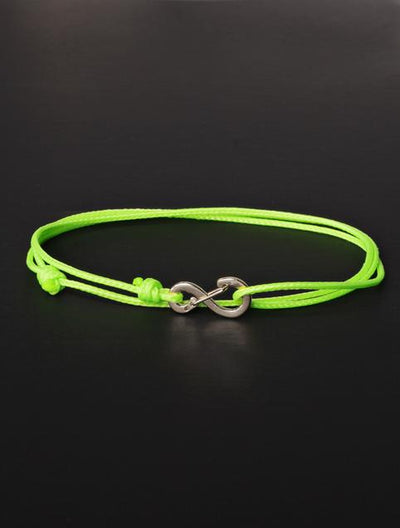 We Are All Smith Infinity Bracelet - Neon Green Cord with Silver Clasp-Jewelry-Johnny Beach