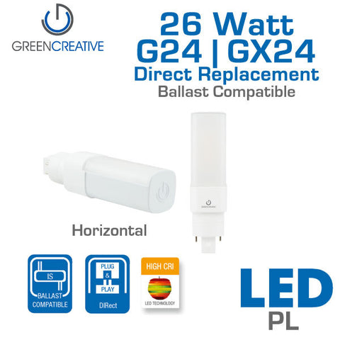 Green Creative Direct PL - 11 Watt - G24q - GX24q - High CRI - Horizontal - Electronic Ballast Compatible