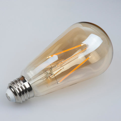 vintage led edison filament light bulb amber 2200k st21 earthled com