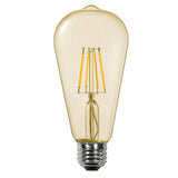 Thinklux Filament LED S21/ST21 Edison Style Light Bulb - 4 Watt - 40 Watt Equal - 2200K Super Warm - Antique Amber Glass - Dimmable - 4 Pack
