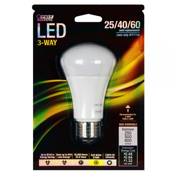 Led 3 Way Three Way Light Bulb 60 Watt Equal Feit A25 60