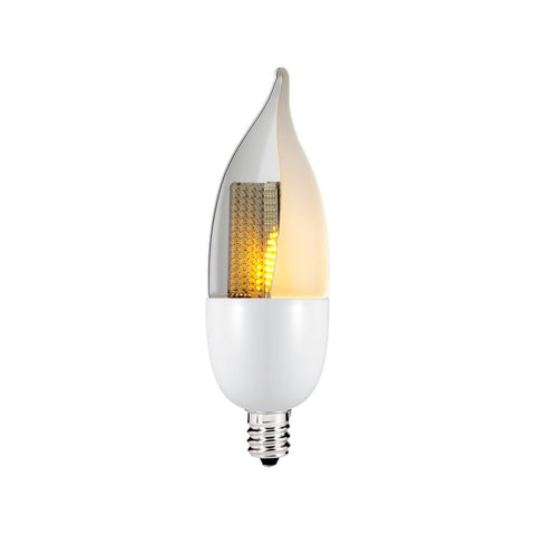Euri 1 Watt - LED Candelabra Bulb with Animated Flicker Flame Technology - 2200K - E12 Base