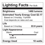 Euri LED EP38-1000 - LED PAR38 - 18W - 100 Watt Equal - 3000K - 1480 Lumens - Dimmable