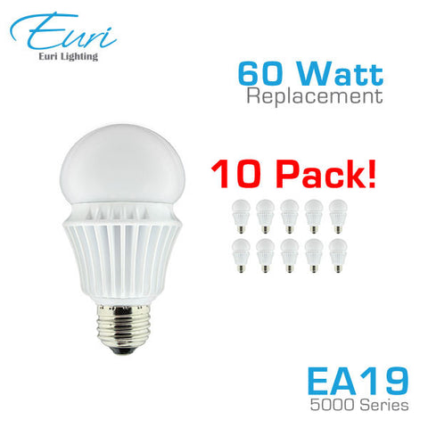 Euri Lighting EA19-5000 - 12W - 60 Watt Equal - LED A19 Bulb - 10 Pack