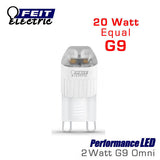 FEIT PerformanceLED G9 Base Halogen Replacements - 2 Watt - 120 Lumens - Warm White (3000K) - 20 Watt Equal
