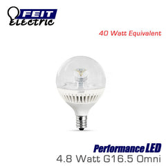 FEIT PerformanceLED G16.5 - 4.8 Watt - 300 Lumens - Warm White (3000K) - 40 Watt Equal