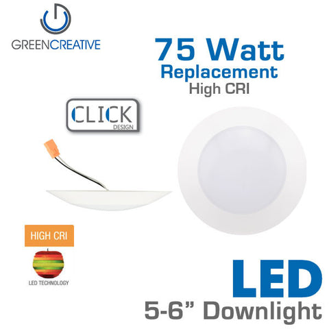 GREEN CREATIVE CLICK - 6 Inch - LED Downlight - 14.5 Watt - 75 Watt Equal - Dimmable - High CRI