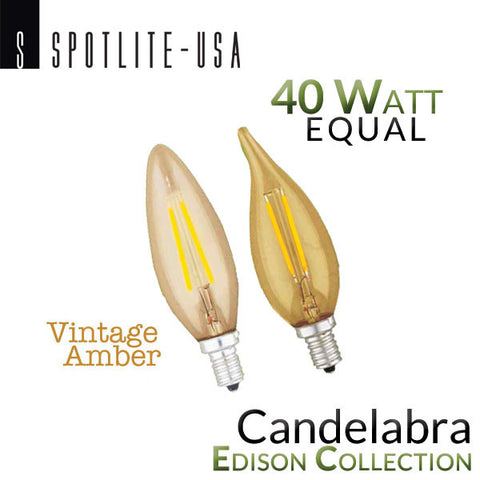 Spotlite USA Edison Collection Vintage LED Filament - E12 Base - Candelabra - 4 Watt - 40 Watt Equal - Amber Glass