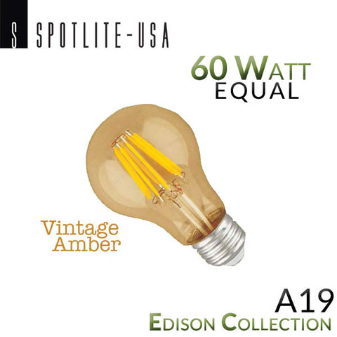 Spotlite USA Edison Collection Vintage LED A19 Filament Bulb - 6 Watt - 60 Watt Equal - Amber Glass