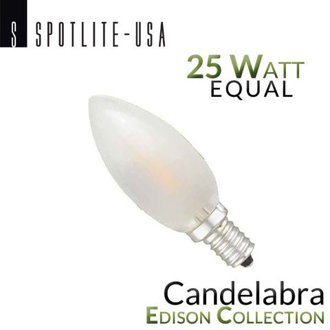 Spotlite USA Edison Collection Vintage LED Filament Frosted - E12 Base - Candelabra - 2 Watt - 25 Watt Equal