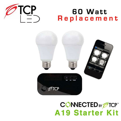 TCP Wireless Connected Smart LED Light Bulb Starter Kit with (2) A19 LED Light Bulbs