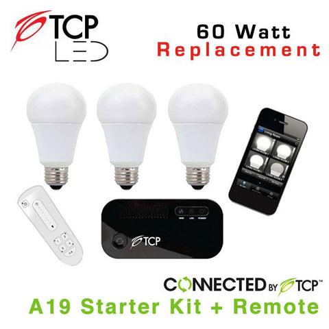 TCP Wireless Connected Smart LED Light Bulb Starter Kit with (3) A19 LED Light Bulbs & Remote