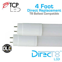 TCP DirecT8 - LED 4 Foot T8 Replacement Tube - Compatible With Instant Start Ballasts