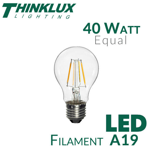 4ft Led Shop Light >> LED A19 Filament Light Bulb 40W Equal | ThinkLux – EarthLED.com