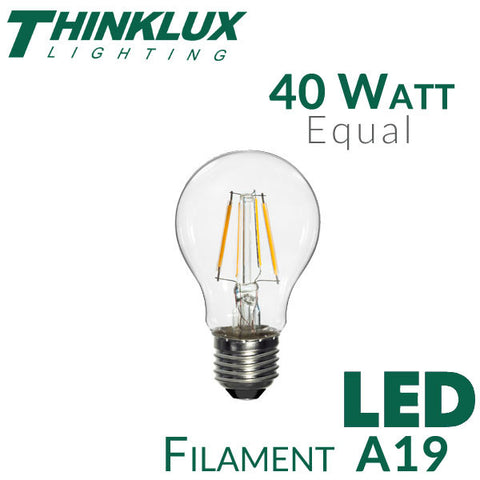 Thinklux Filament LED A19 Light Bulb - 4 Watt - 40 Watt Equal - Dimmable