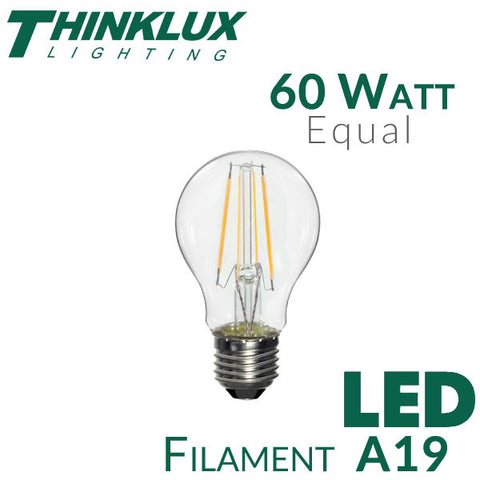 Thinklux Filament LED A19 Light Bulb - 7 Watt - 60 Watt Equal - Dimmable