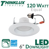 "Thinklux 6"" LED Recessed Downlight - 18 Watt - 120 Watt Equal - Dimmable"