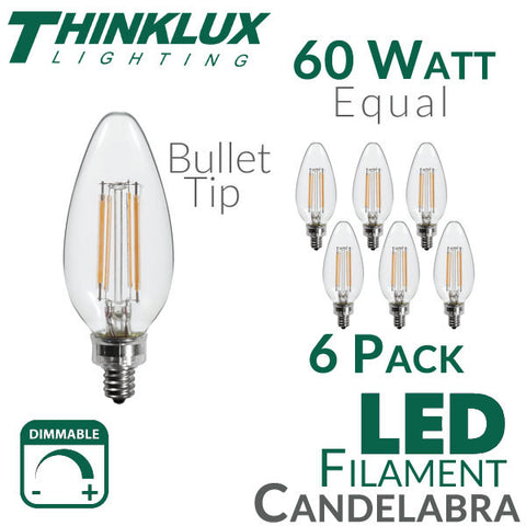 Thinklux Filament Candelabra LED Light Bulb - 5 Watts - 60 Watt Equal - Dimmable - E12 Base - Bullet Tip - 6 Pack