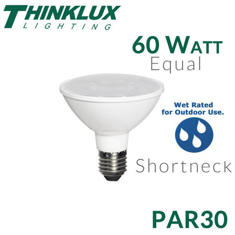 Thinklux LED PAR30 Shortneck - 10.5 Watts - 60 Watt Equal - Dimmable - Outdoor/Wet Rated