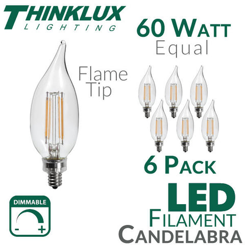 Thinklux Filament Candelabra LED Light Bulb - 5 Watts - 60 Watt Equal - Dimmable - E12 Base - Flame Tip - 6 Pack