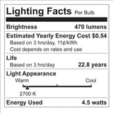 Euri Vintage Style LED G25 Filament Light Bulb - 4.5 Watt - 40 Watt Equal - Dimmable