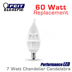 FEIT PerformanceLED Chandelier Candelabra Omni-Directional - 7 Watt - 500 Lumens - 60 Watt Equal - E12 Base