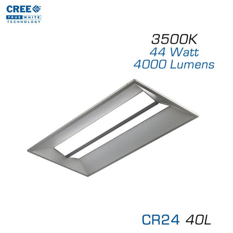 CREE CR24-40L - 2x4 LED Troffer - 44 Watts - 3500K - Step Dimming
